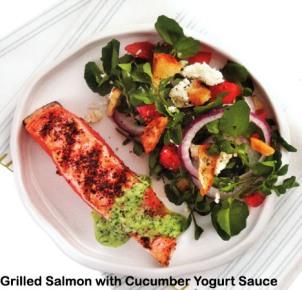 Grilled Salmon with Cucumber Yogurt Sauce